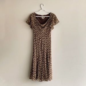 Adrianna Papell Polka dot 100% Silk Dress